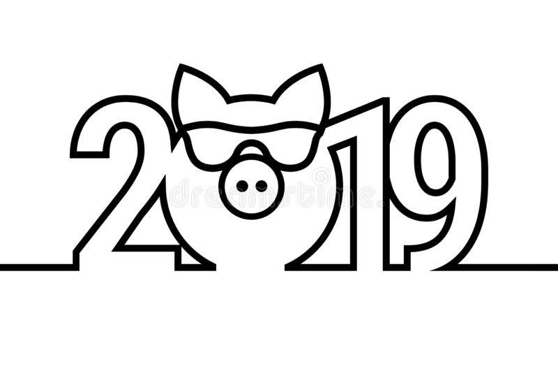 Schwarzweiss-Emblem des Schwein-Jahr-2019 Satz der Farbflamme Frohe Weihnacht-und guten Rutsch ins Neue Jahr-Gestaltungselemente stock abbildung