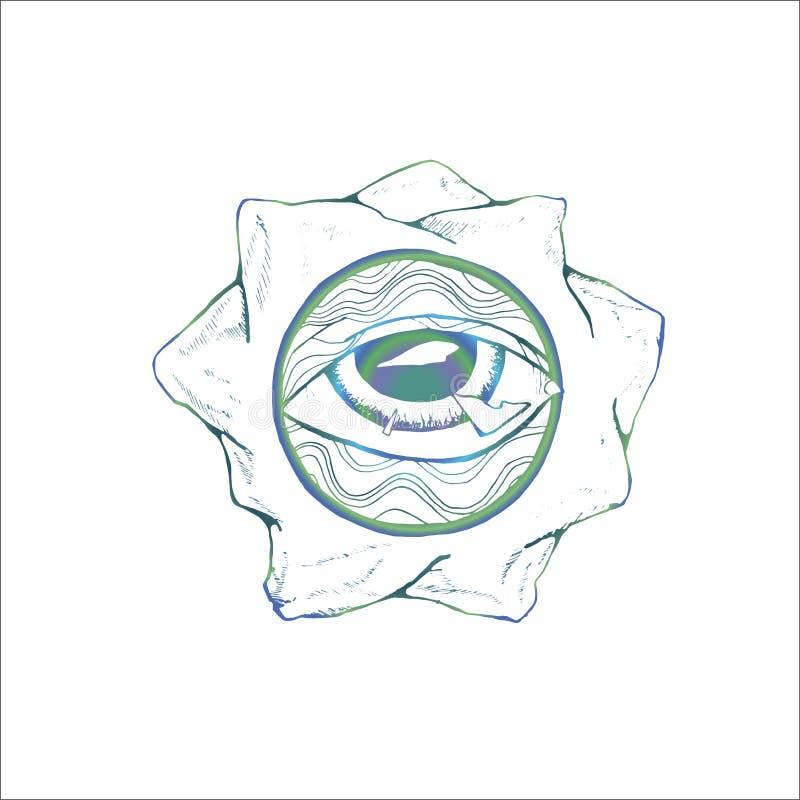 Schwarzweiss-Farbe des Auges, eingeschrieben in einem Kreis des Musters und der Berge Idee f?r eine T?towierung stock abbildung
