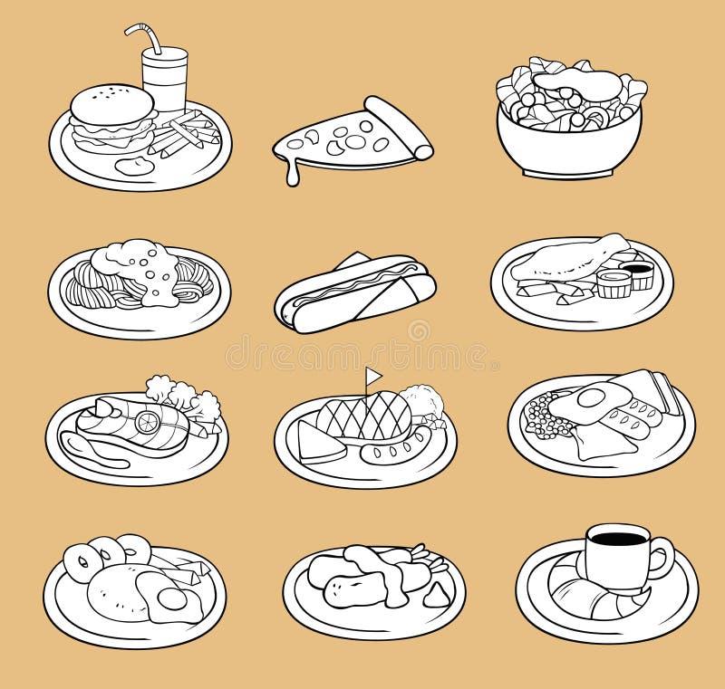 Schwarzweiss-Federzeichnung internationalen Lebensmittelikone collecti vektor abbildung