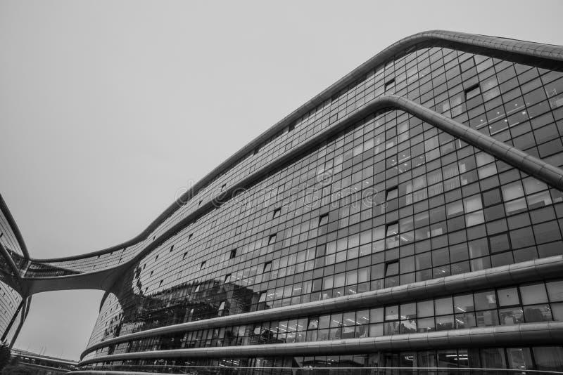 Schwarzweiss-Foto der abstrakten Nahaufnahme des modernen Formarchitekturdetails Bionische Fassade stockfotos