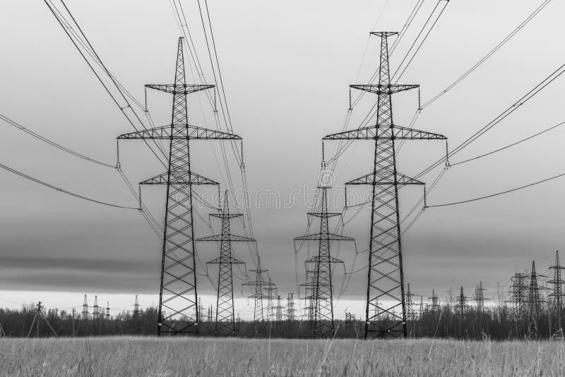 Schwarzweiss-Foto der Türme der elektrischer Leitung auf dem Landschaftsgebiet auf dem Hintergrund des Himmels und des Waldes lizenzfreie stockfotos