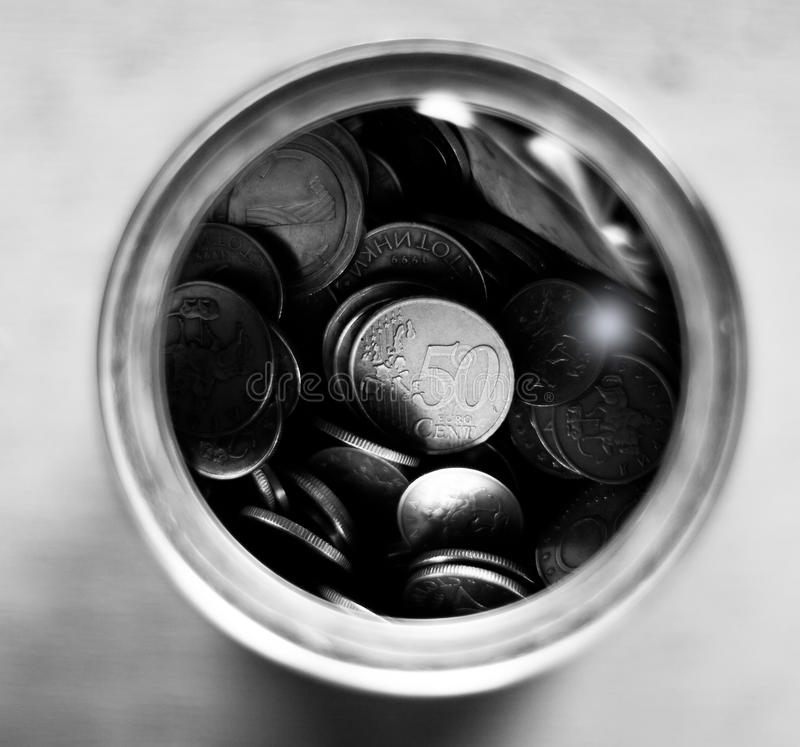 Schwarzweiss-Geldeinsparungen lizenzfreies stockbild