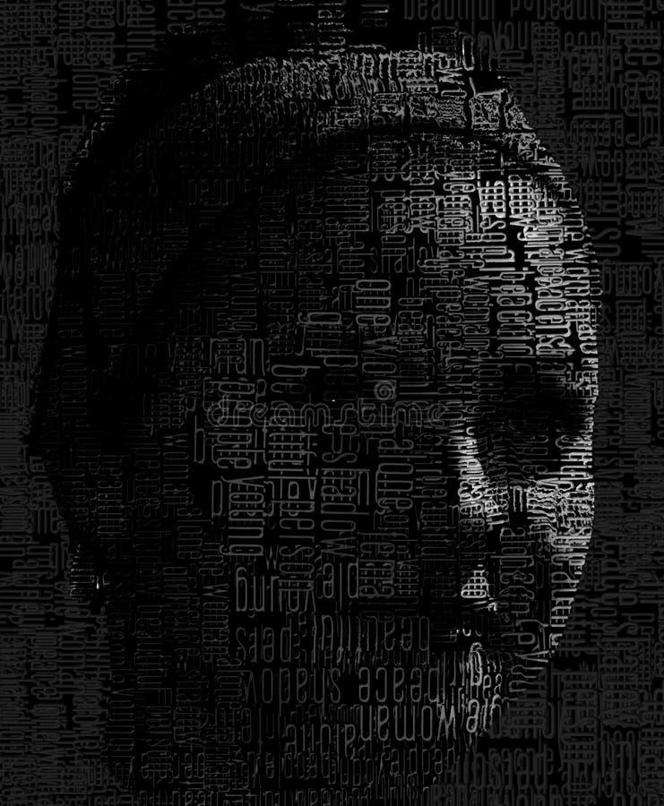 Schwarzweiss-Gesicht mit Buchstaben stockbild