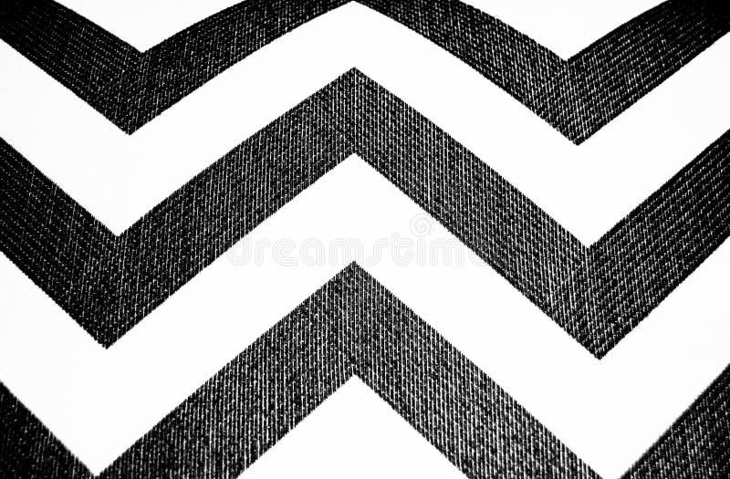 Schwarzweiss-Gewebe Chevron-Druck stockfotografie