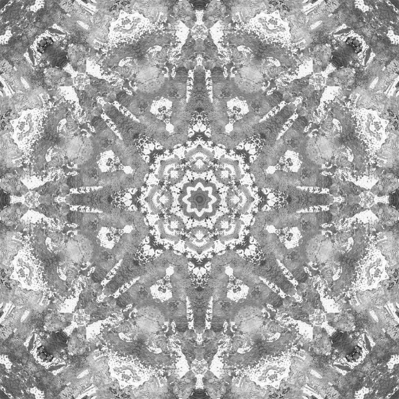 Schwarzweiss-Grayscale-Mandala mit handgemachter Beschaffenheit der Kunst lizenzfreie stockbilder