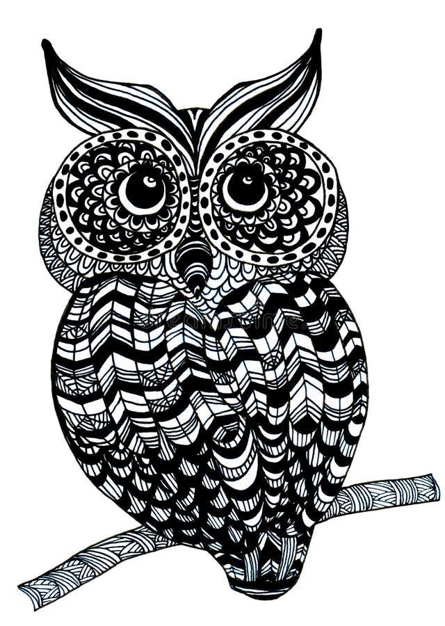 schwarzweiss hand gezeichnete eule stock abbildung illustration von vogel feder 99145968. Black Bedroom Furniture Sets. Home Design Ideas