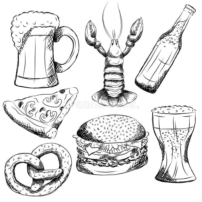 Schwarzweiss-Hand gezeichnete Kneipenelemente stockbilder