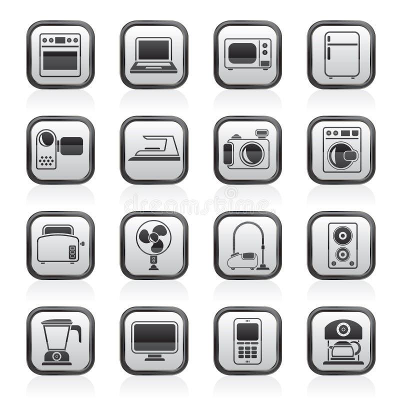 Schwarzweiss-Haushaltsgeräte und Elektronikikonen vektor abbildung