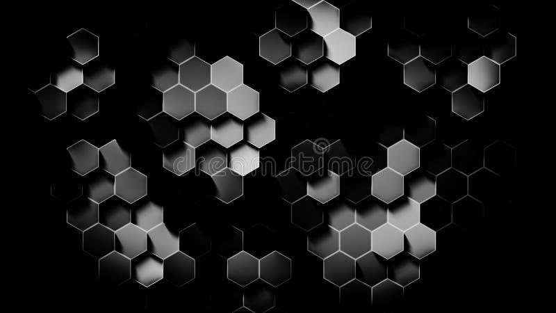 Schwarzweiss-Hexagon Digital erzeugte Tapete stock abbildung