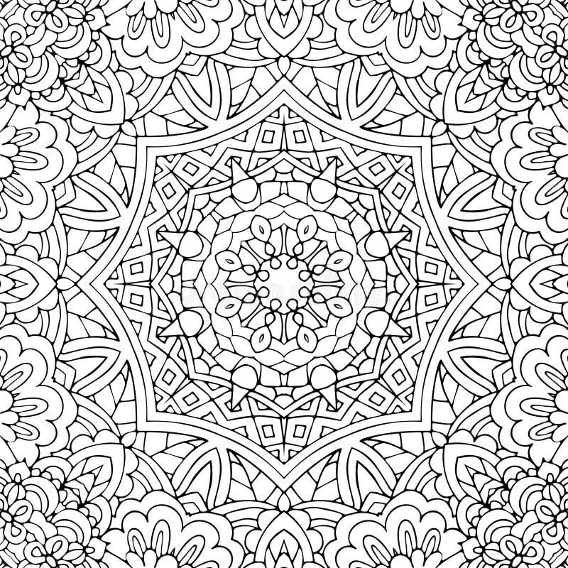 Schwarzweiss-Hintergrundmuster des nahtlosen ethnischen Blumengekritzels im Vektor lizenzfreie abbildung