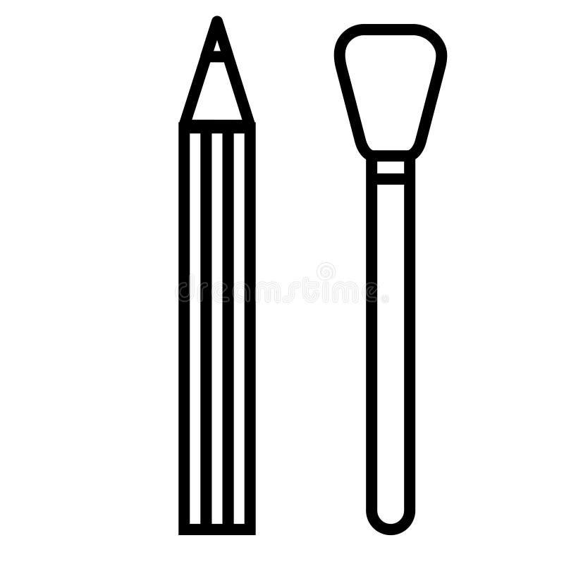 Schwarzweiss-Ikone ist ein einfacher linearer modischer bezaubernder kosmetischer Bleistift für das Abtönen der Lippen und Augen  vektor abbildung
