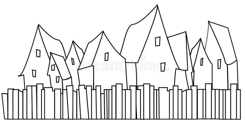 Schwarzweiss-Ikone von Häusern mit Zäunen stock abbildung