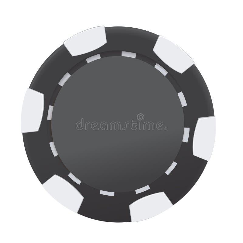 Schwarzweiss-Kasinopokerchip lokalisiert auf weißem Hintergrund Auch im corel abgehobenen Betrag stock abbildung