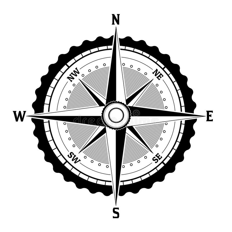 Schwarzweiss-Kompassikone lizenzfreies stockbild