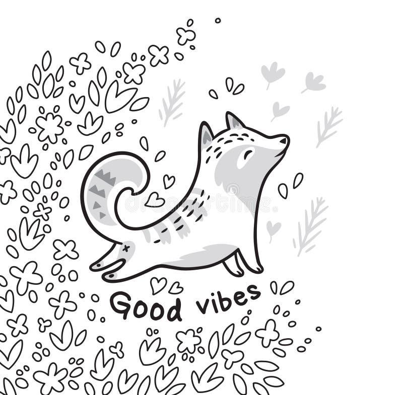Schwarzweiss-Konturn-Blumenkarte mit Katze oder Fuchs in den Blättern Guter Schwingungenstext lizenzfreie abbildung