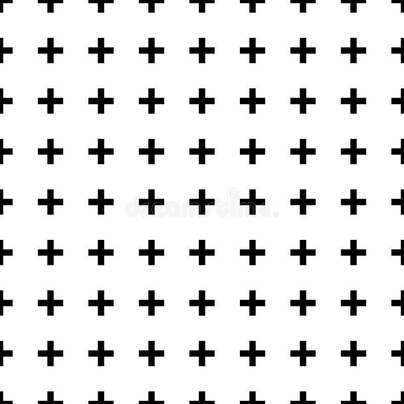 Schwarzweiss-Kreuz-nahtloses Muster stock abbildung