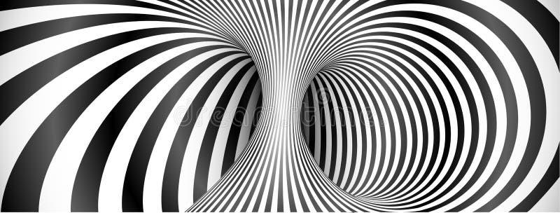 Schwarzweiss-Linien Hintergrund der optischen Täuschung lizenzfreie abbildung