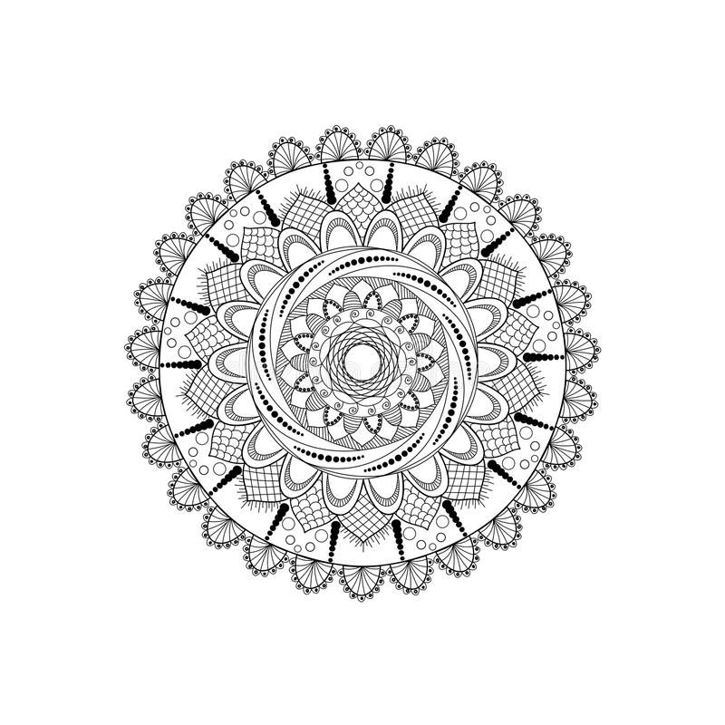 Schwarzweiss-Mandala stockbild