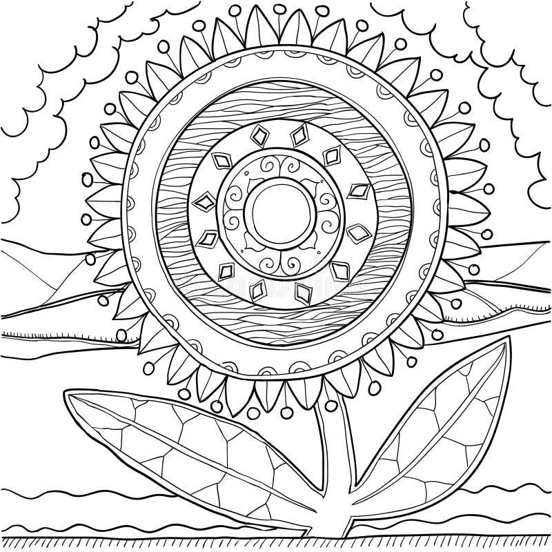 Schwarzweiss-Mandalaverzierung Hand gezeichnetes Muster stock abbildung