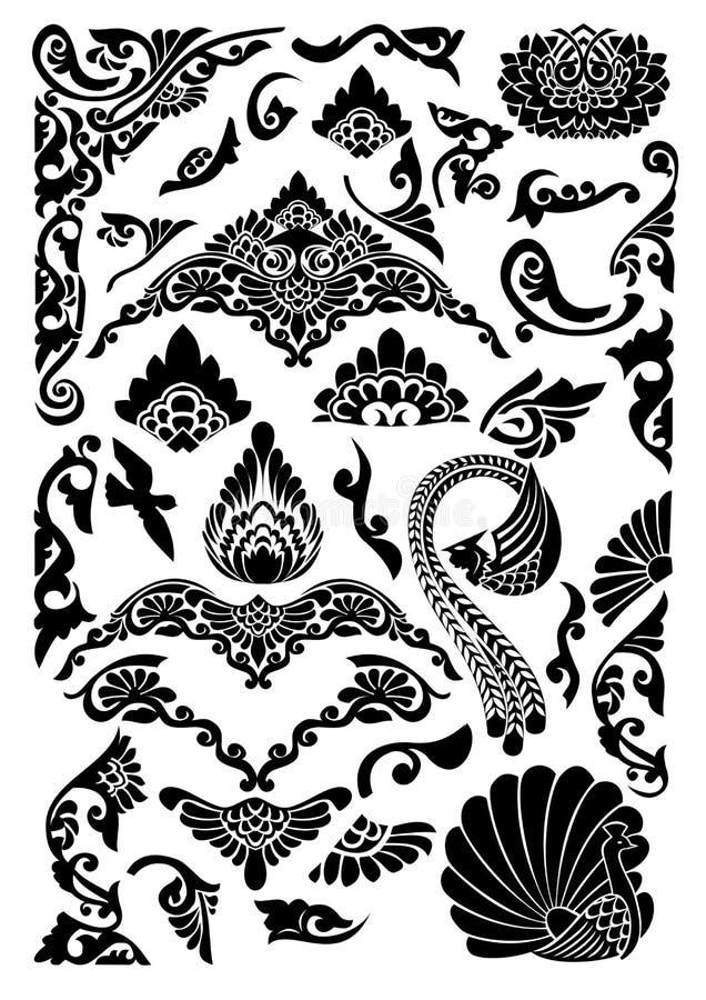 Schwarzweiss-mit Filigran geschmücktes stock abbildung