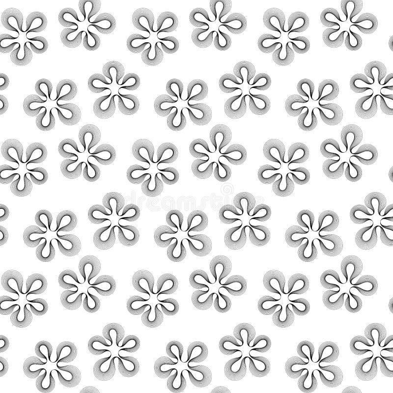 Schwarzweiss-Muster der nahtlosen Blumen stock abbildung