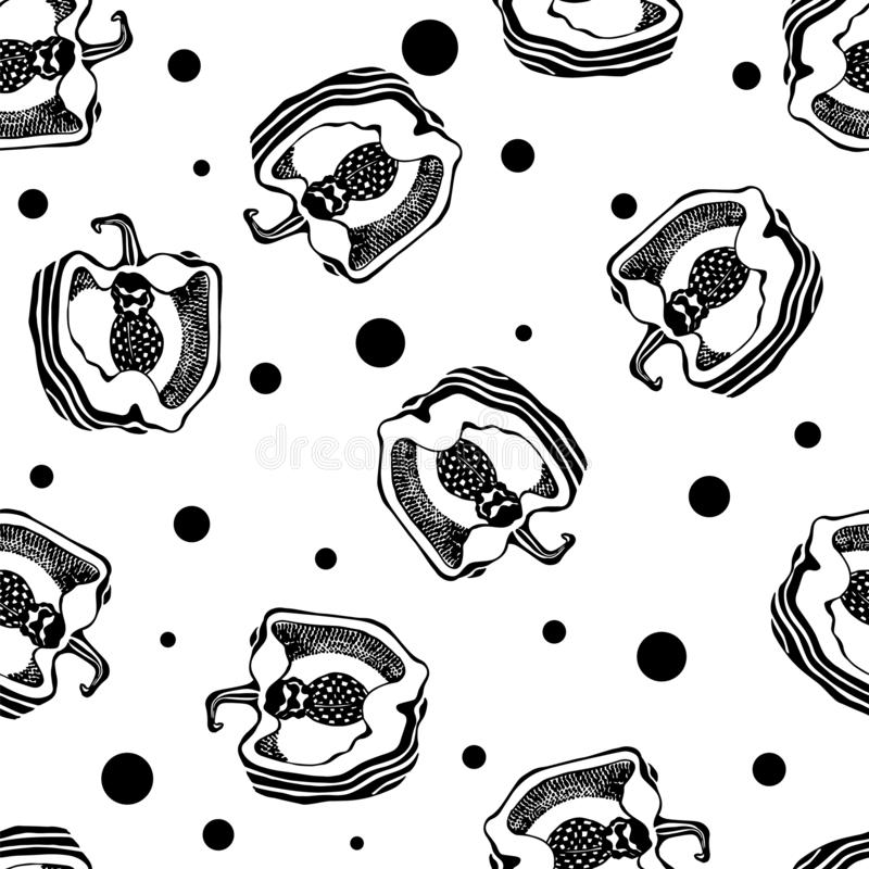 Schwarzweiss-Muster mit Pfeffer Nahtlose Beschaffenheit graphiken Vektor lizenzfreie abbildung