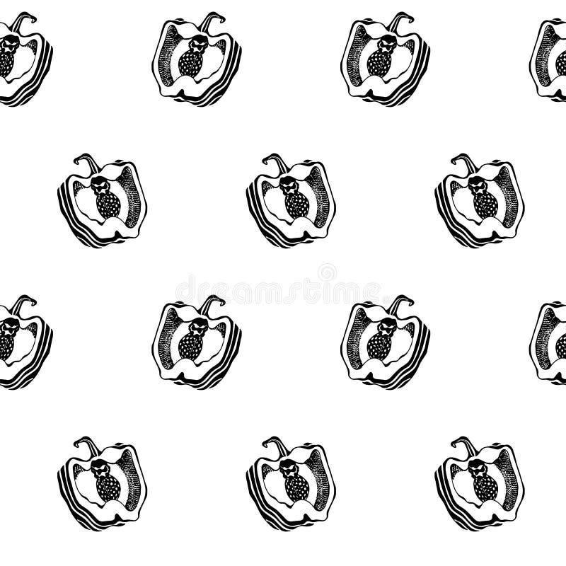 Schwarzweiss-Pfeffer Nahtlose Vektorbeschaffenheit des Küchenmusters graphiken vektor abbildung