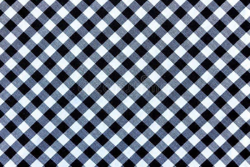 Schwarzweiss-Plaid-Textilgewebe-Beschaffenheit für Hintergrund stockfoto