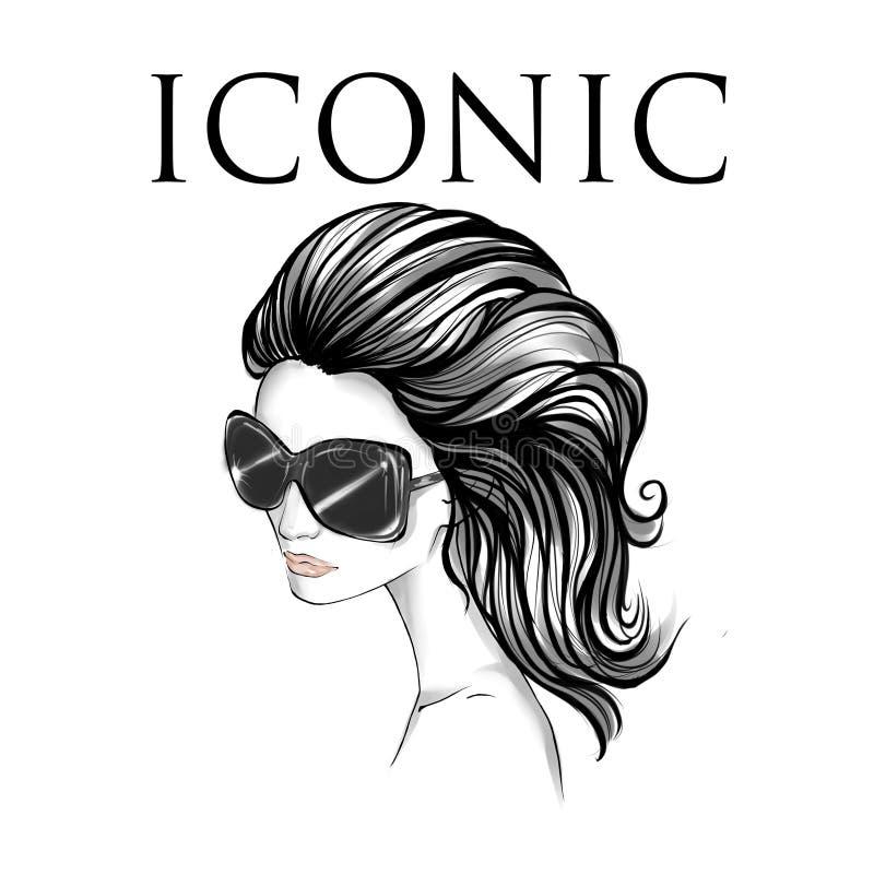 Schwarzweiss-Porträt der tragenden Sonnenbrille der eleganten Frau mit dem langen gewellten Haar stock abbildung