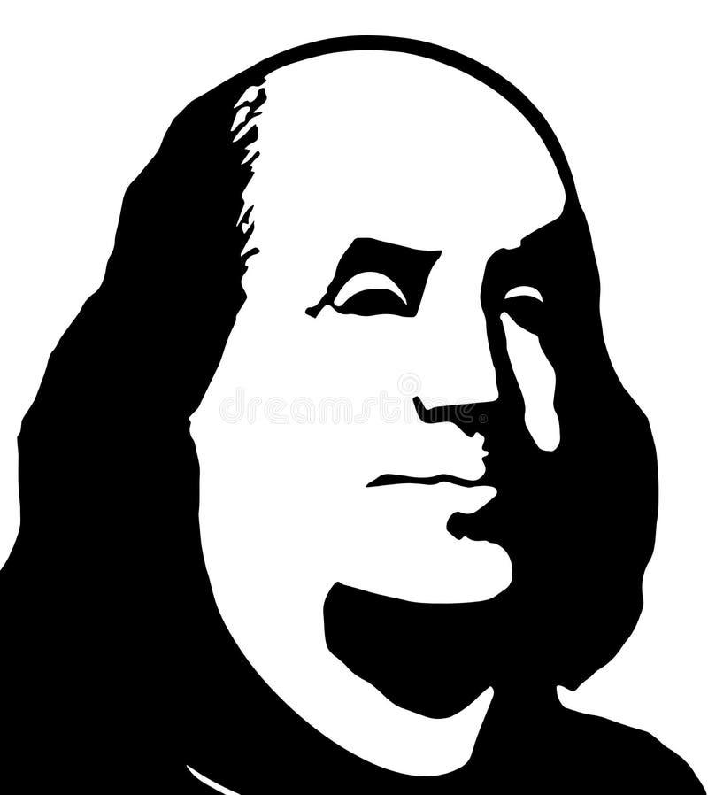 Schwarzweiss-Porträt von Benjamin Franklin auf einem weißen backgro lizenzfreie abbildung