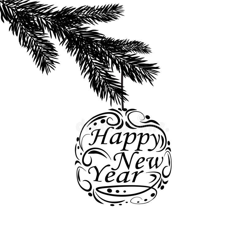 Schwarzweiss--, realistische Niederlassung des Tannenbaums Grußaufschrift guten Rutsch ins Neue Jahr Tannenzweige Lokalisiert auf stock abbildung