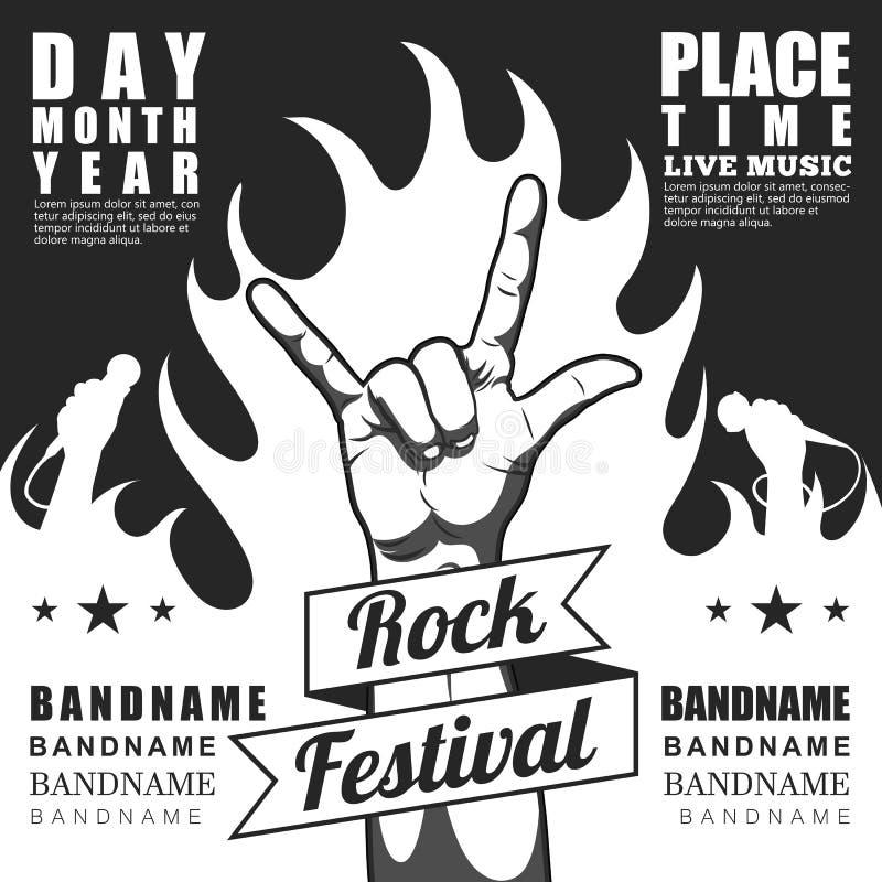 Schwarzweiss-Rockfestivalplakat, mit Zeichen und -feuer des Rocks n Rollen lizenzfreie abbildung
