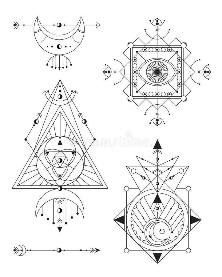 Schwarzweiss-Satz der heiligen Geometrievektor-Illustration Gut f?r Logo, Entwurf der Yogamatte und Kleidung lizenzfreie abbildung