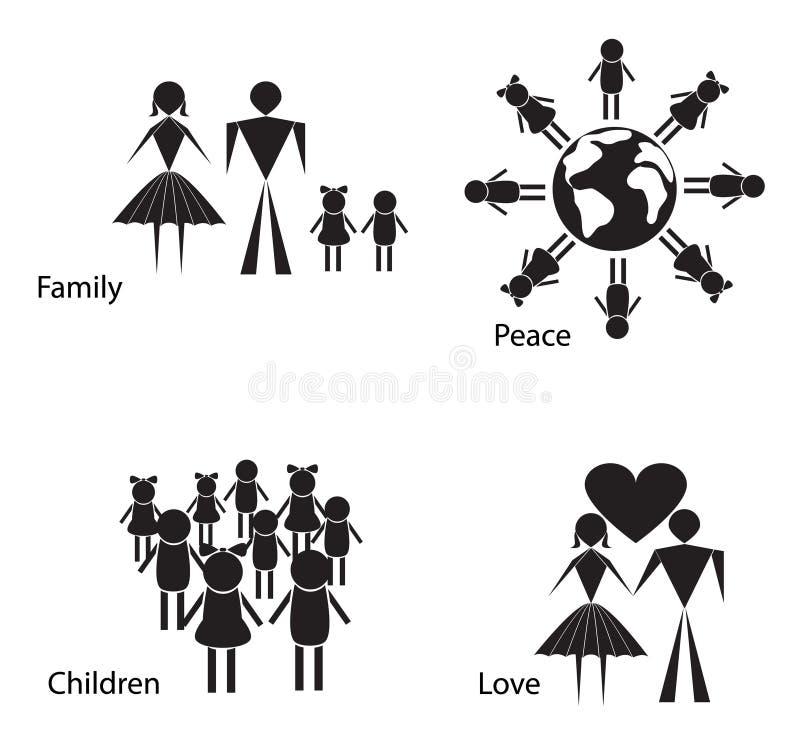 Schwarzweiss-Schattenbilder von Leuten und von Kindern lizenzfreie abbildung