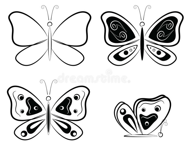 Schwarzweiss-Schmetterlingsschattenbilder - Vektorillustration stock abbildung