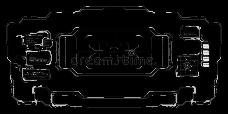 Schwarzweiss-Schnittstelle futuristischen Benutzer Ziels stock abbildung