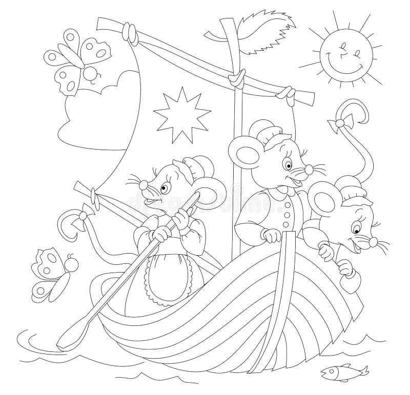 Schwarzweiss-Seite für Babymalbuch Zeichnung von drei netten Mäusen, die in Segelboot reisen Bedruckbare Schablone für Kinder lizenzfreie abbildung