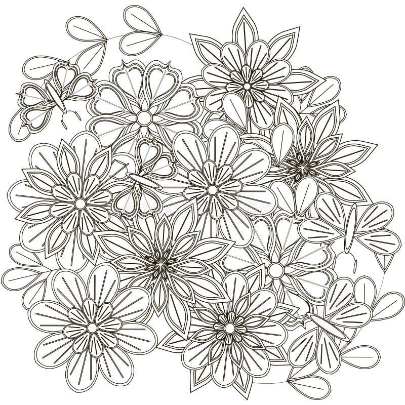 Schwarzweiss-Skizze Des Blumenstraußes, Der Stilisierten Blumen Und ...