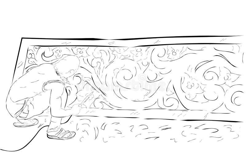 Schwarzweiss-Skizze des Handabgehobenen betrages, sitzender Mann, der Stryrofoam-Brett, künstlichen Hintergrund in zeremoniellem  vektor abbildung