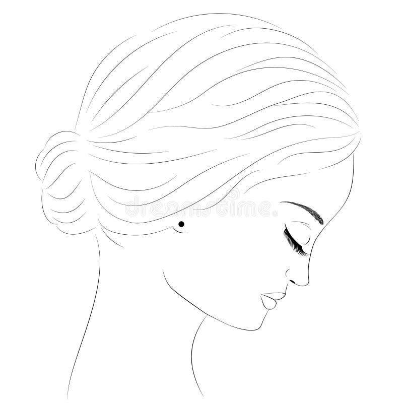 Schwarzweiss-Skizze des Mädchen ` s traurigen Gesichtes Schönes junges Mädchen vektor abbildung