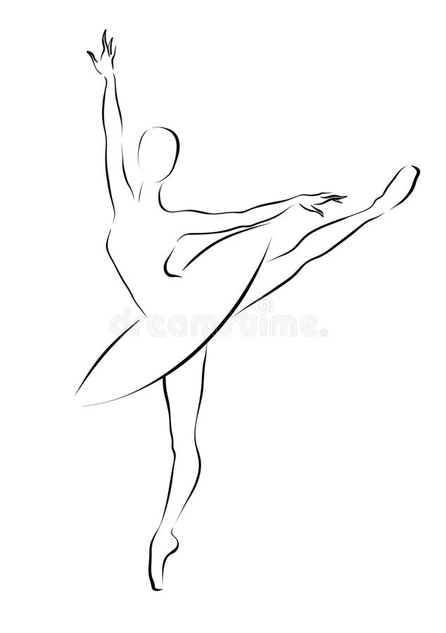 Schwarzweiss-Skizze einer tanzenden Ballerina stockfotos