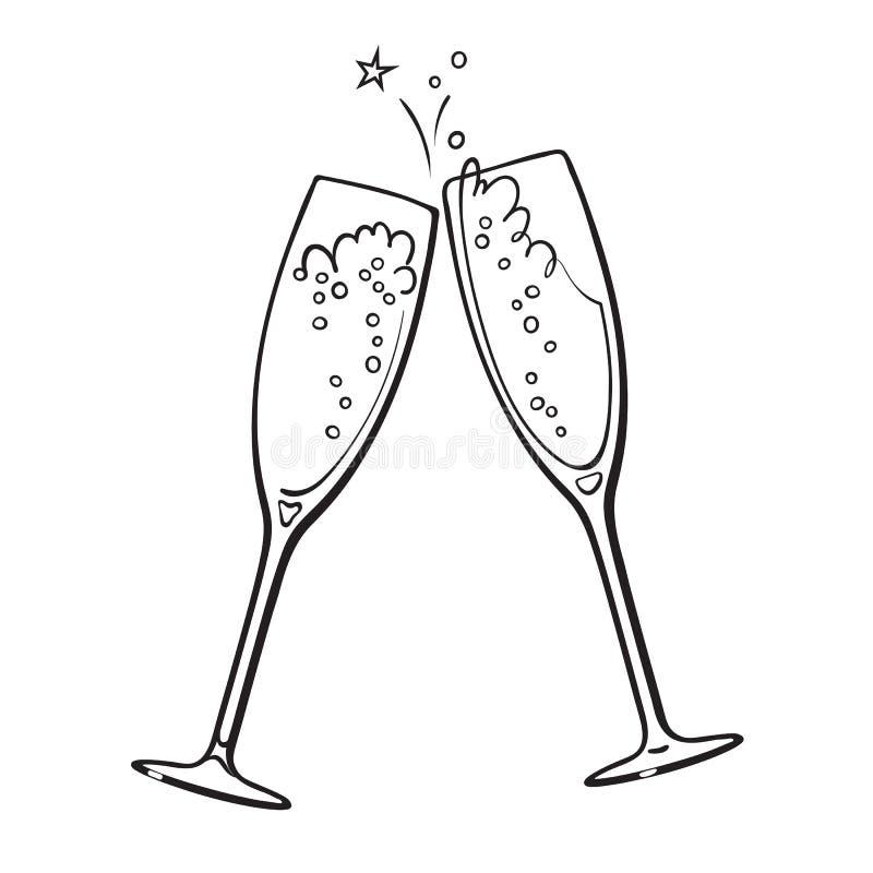 Schwarzweiss-Skizze von zwei Gläsern Champagner stock abbildung