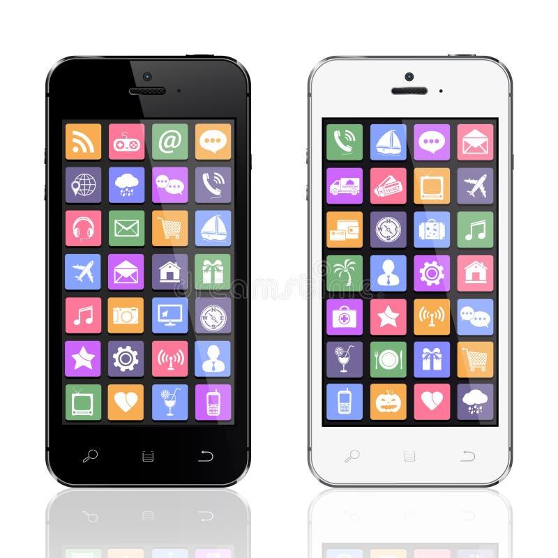 Schwarzweiss-Smartphones mit apps Ikonen lizenzfreie abbildung