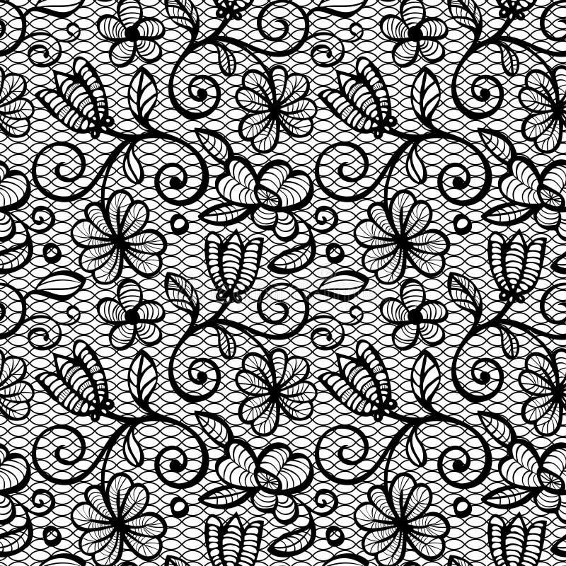 Schwarzweiss-Spitze-nahtloses Muster lizenzfreie stockbilder
