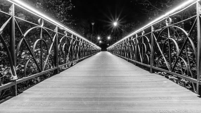 Schwarzweiss-Stadt, Brücke von Liebhabern stockbild