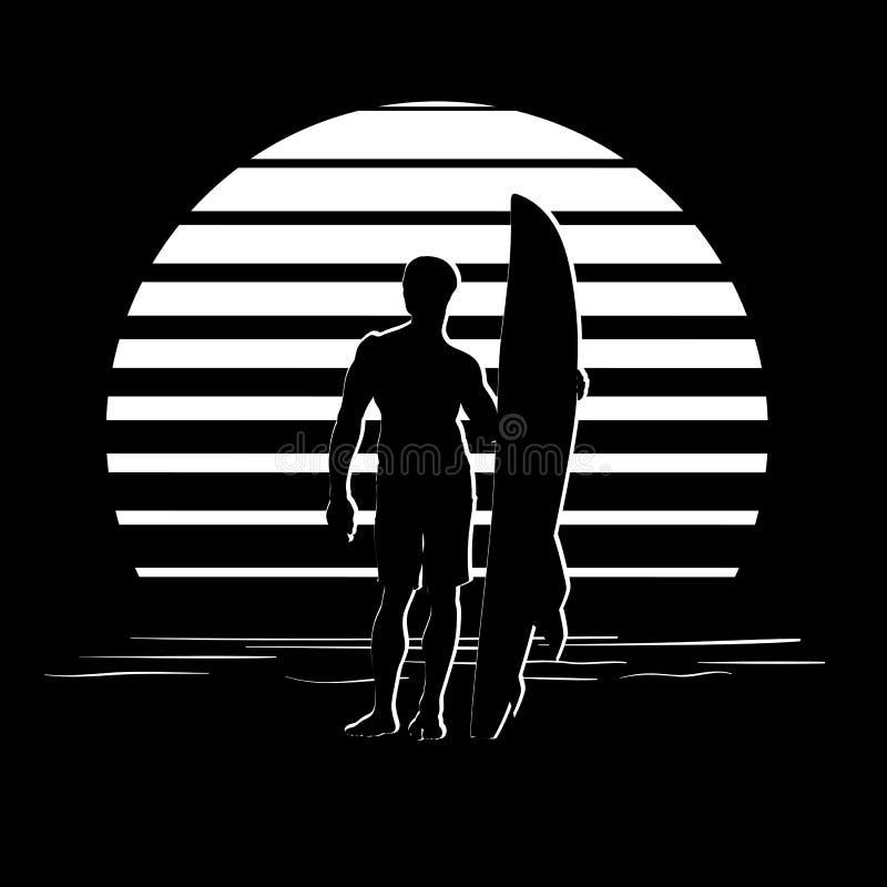 Schwarzweiss-Streifenlogo mit Surferschattenbild stock abbildung