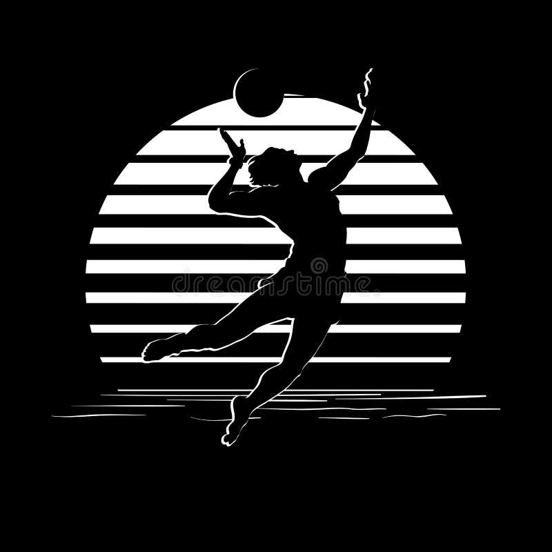 Schwarzweiss-Streifenlogo mit Volleyballspielerschattenbild stock abbildung
