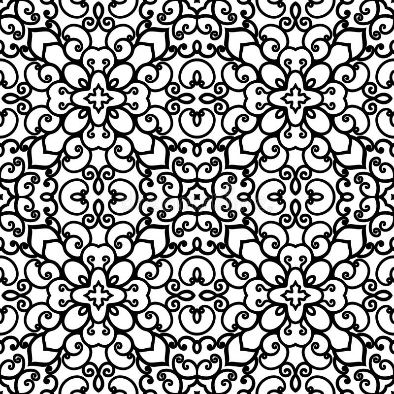 Schwarzweiss--swirly Muster stock abbildung