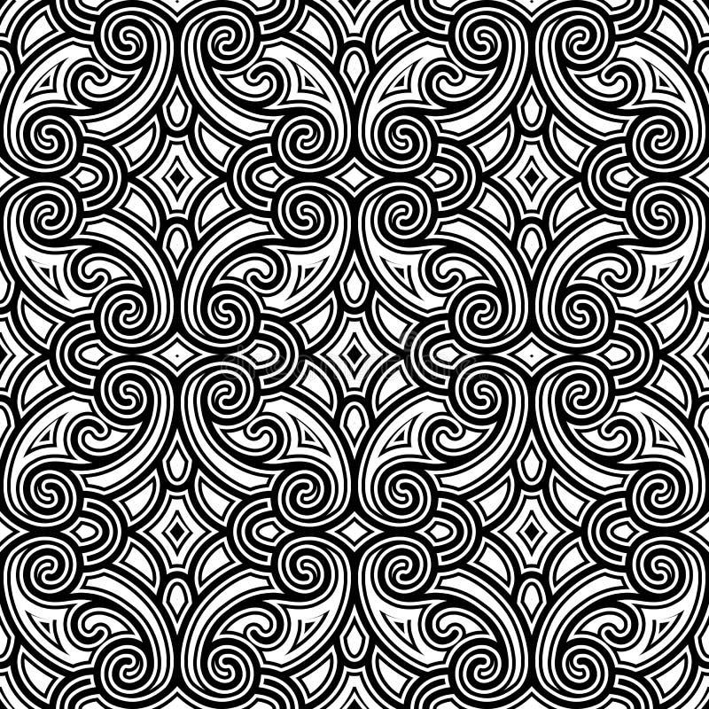 Schwarzweiss--swirly Muster lizenzfreie abbildung