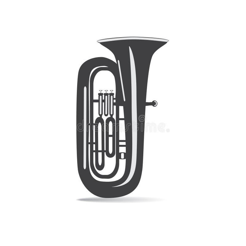 Schwarzweiss-Tuba lokalisiert, Vektorillustration lizenzfreie abbildung